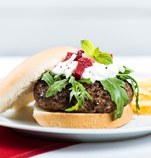 Lamb Burger with Pickled Beet Salsa