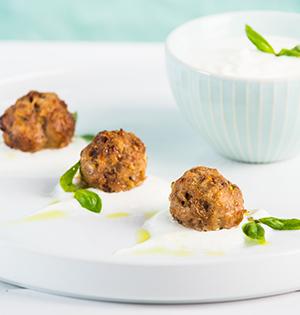 Mediterranean Lamb Meatballs with Yogourt Tahini Sauce