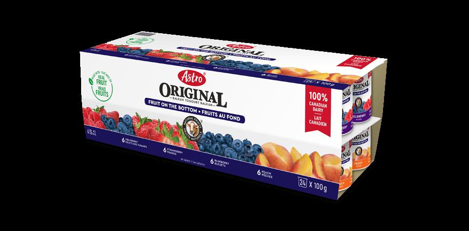 Astro® Original Balkan Fruit on the Bottom Peach / Strawberry / Blueberry / Fieldberry 24 x 100 g